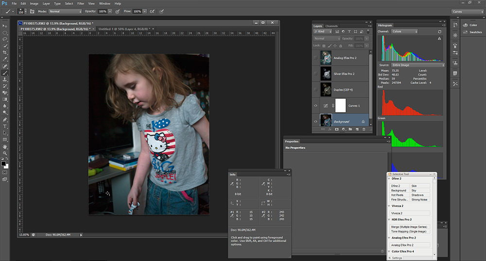 A screenshot of my workspace in Photoshop, showing the layers created by the Nik Collection plugins