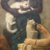 A person is holding a cat for another person to look at whilst carving a statue of a cat