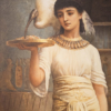A woman with an ibis on her shoulder. The ibis is eating from a plate of food in the woman's hand