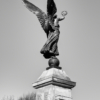 The back of a statue on a war memorial. The statue is a woman with large wings and holding a laurel wreath in her hand
