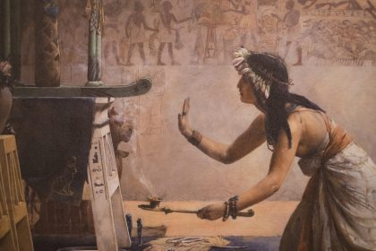 Part of a painting showing an ancient egyptian lady bowing in front of an altar, with burning incense.on the wall behind her are traditional egyptian scenes of offering tables with servants bringing food to lay on them