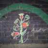 A painted image of the Heliotrope plant as part of the mural in the Marsh Lane Time Tunnel