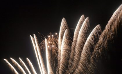 A bright spray of fireworks
