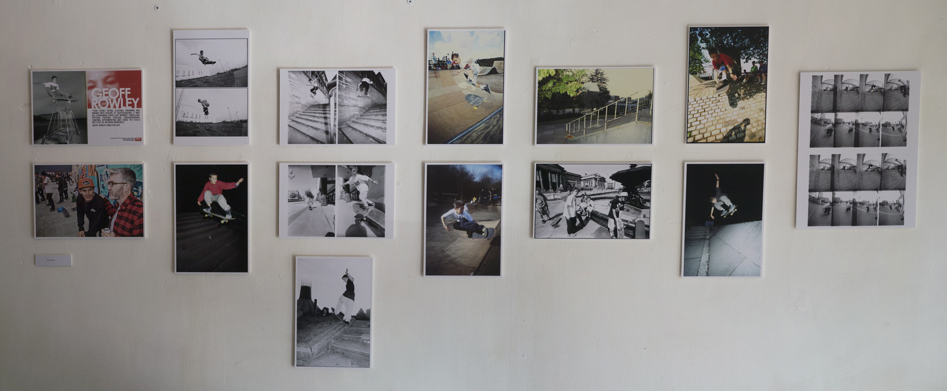 An image of the photos taken by Kev Banks of Geoff Rowley in the photographic exibition