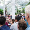 A crowd of people in a large glass house. The crowds are facing to the left of the camera, watching performers. The glasshouse has large plants around its edges.