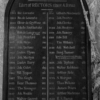 "A wooden panel, rectangular in shape with a rounded top. At the top, it says ""The parish of Charlcombe is known to have been existing before A.D. 1042"" then lists the rectors between 1312 and 1897"