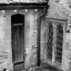 The old vestry door (no longer used) is small and narrow. It's just next to where the vestry meets the main church