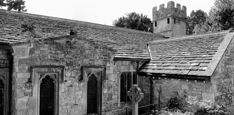 looking at the north side. It's a small, low church. It has a castellated tower and the vestry extension coming out to the side.