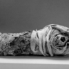 A cat mummy lying on its side. The front of its skull is exposed where the bandages have been damaged