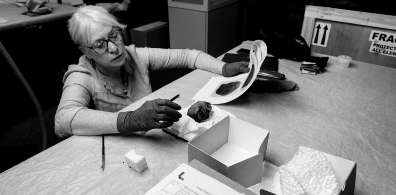 The conservator is keeling down so she is looking across the top of the table. She is inspecting a mummified cat's head