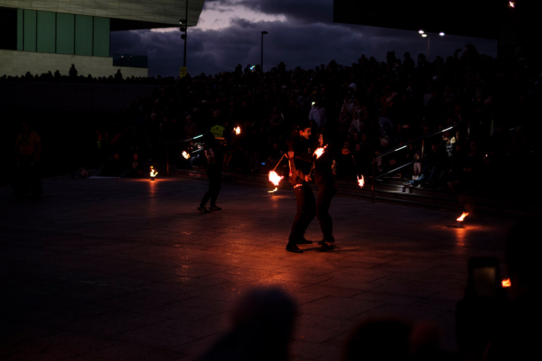 More Guido Fawkes dancers with fire sticks