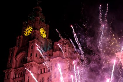 The Liver Building lit up by fireworks