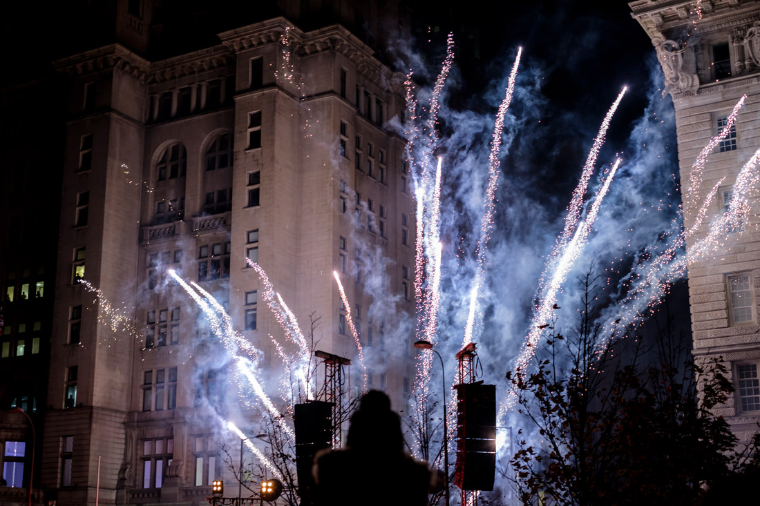 Fireworks in front of the Liver Building