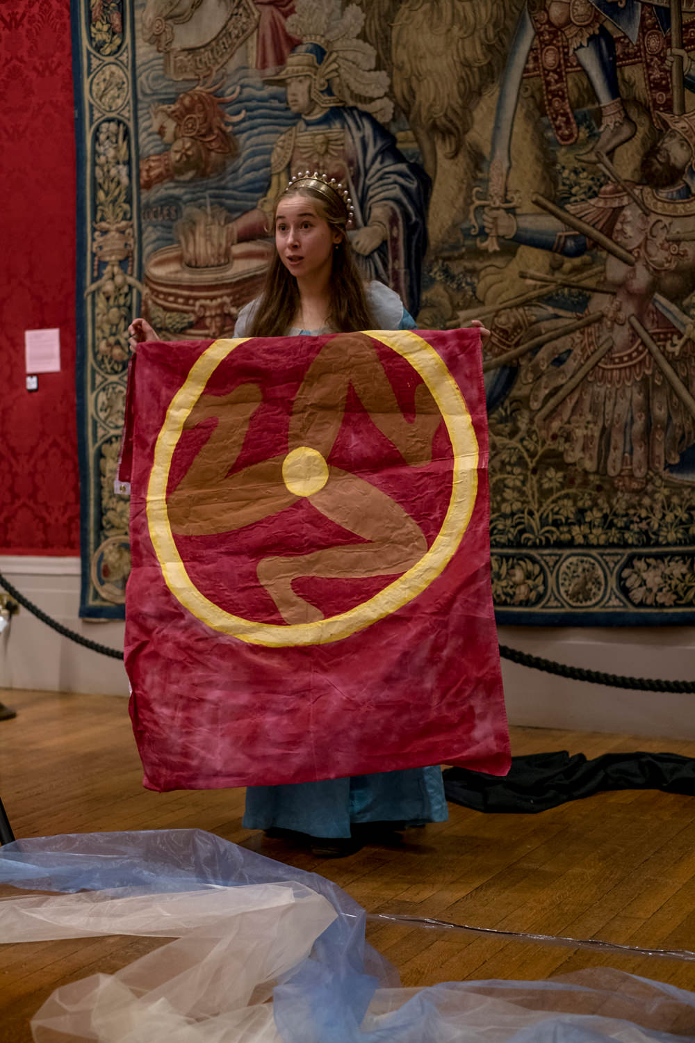 The actress holding a flag from the Isle of Man