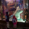 The two girls standing in front of a shop window with a pole-dancing polar bear