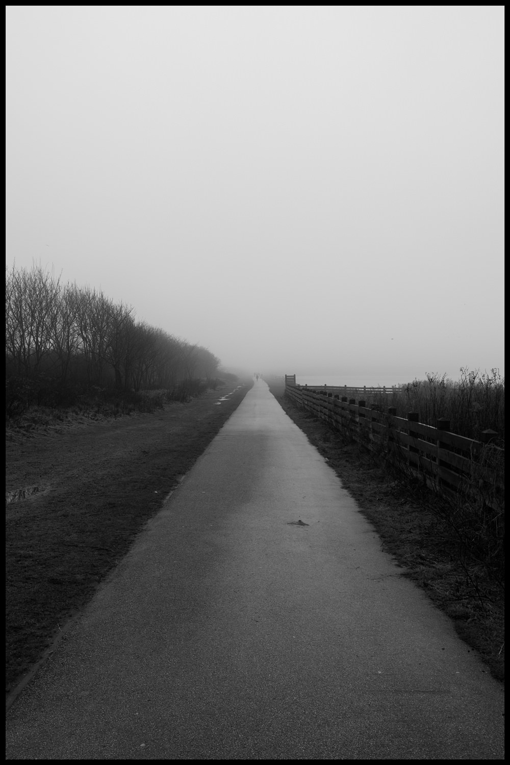 Looking down a long, straight pathway which is disappearing into the fog