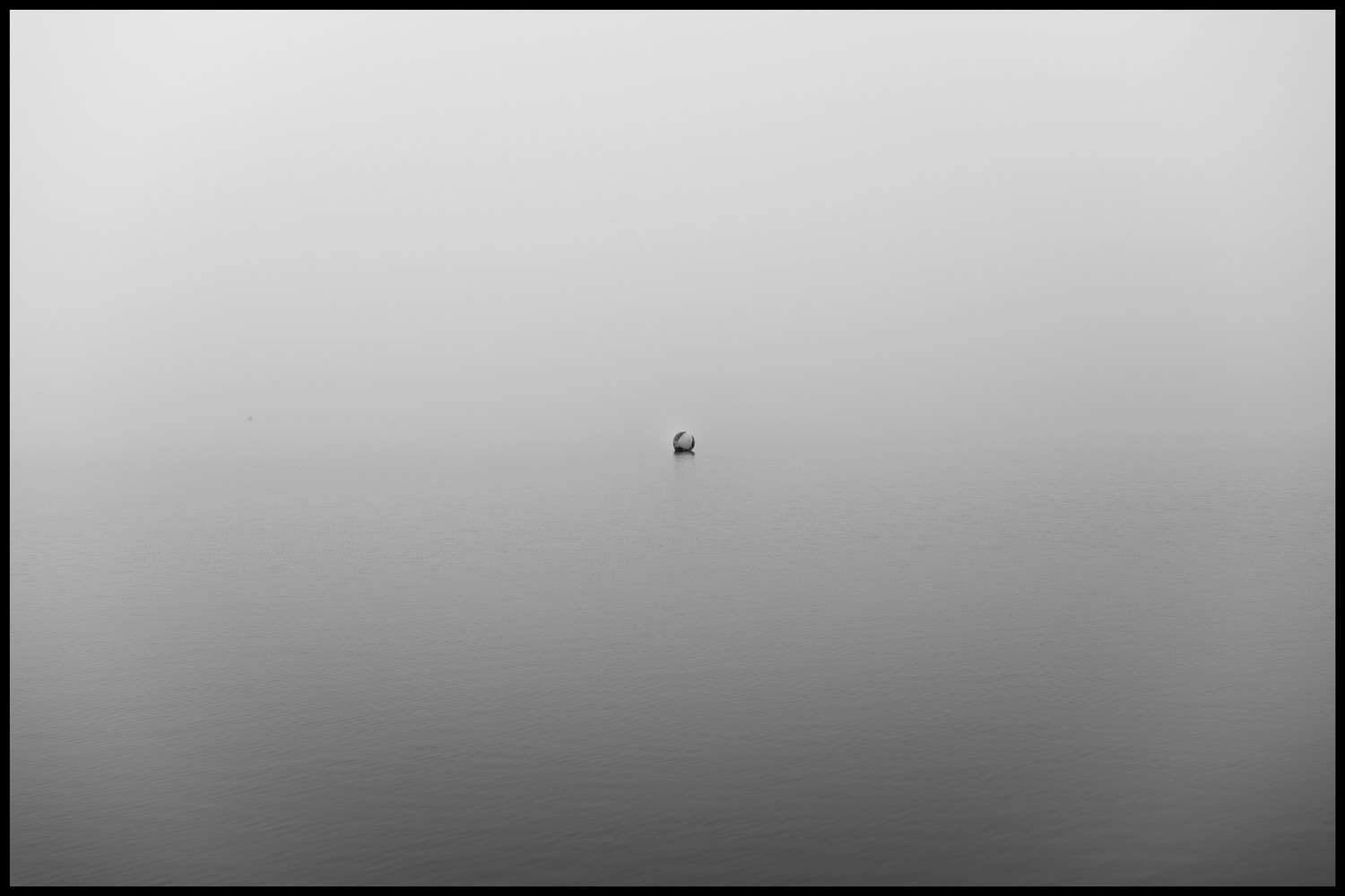 A buoy on the water. The fog makes it hard to see the division between water and sky