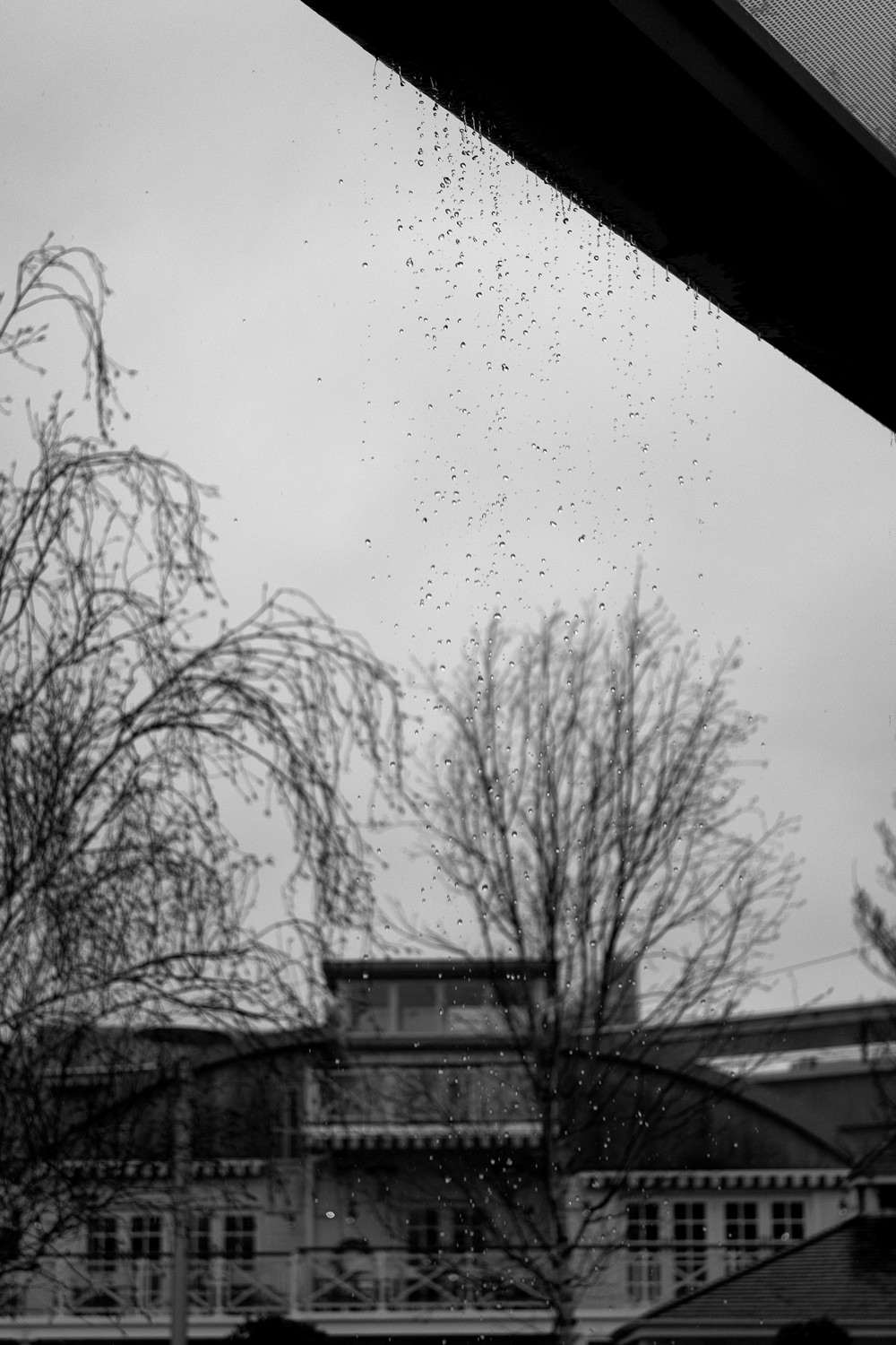 Water droplets falling off the edge of a roof shelter with another building and some trees in the background