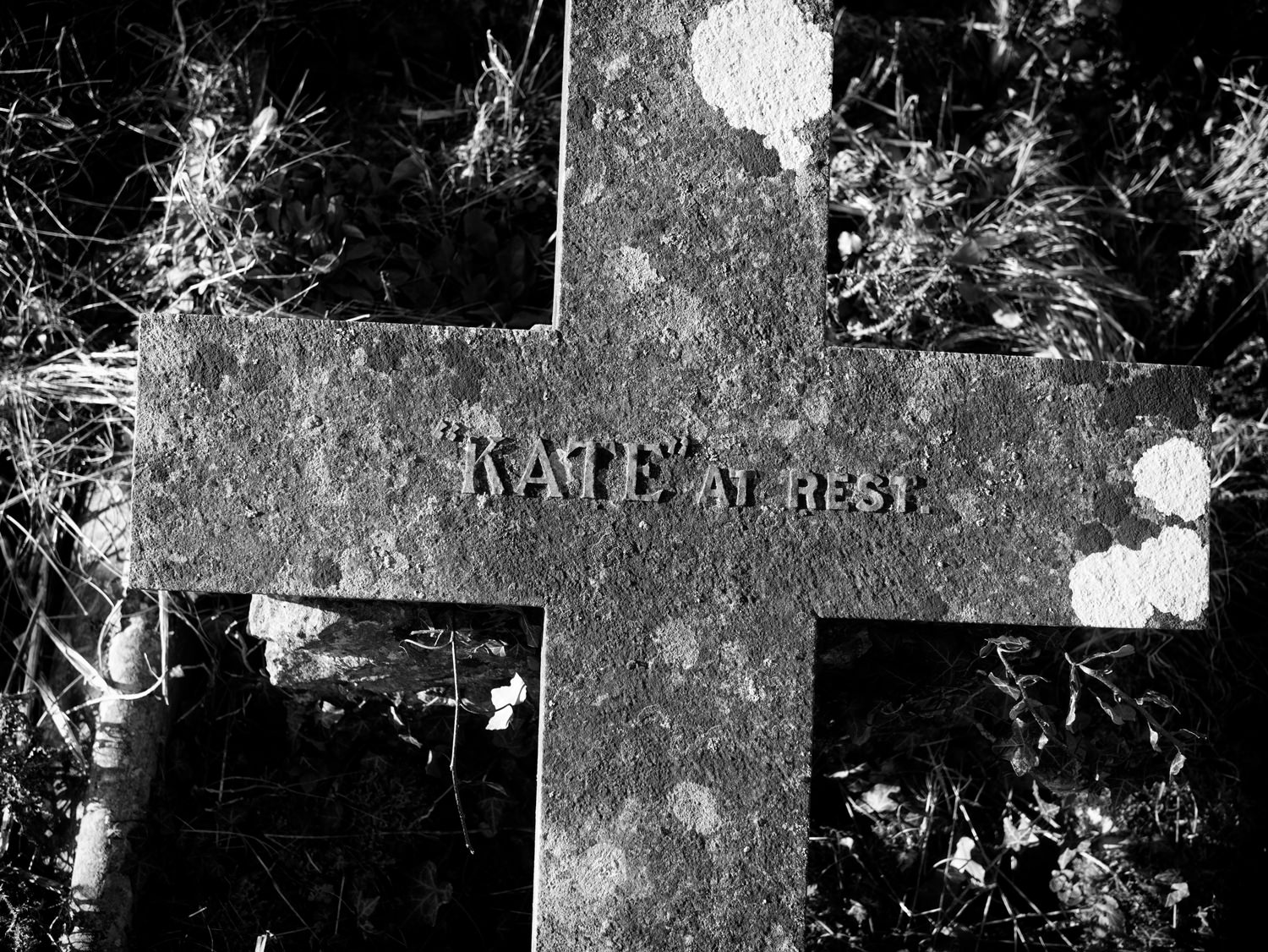 "Part of a cross from a grave lying flat on the grass. It's plain, with just the words '""Kate"" at rest' across the middle."