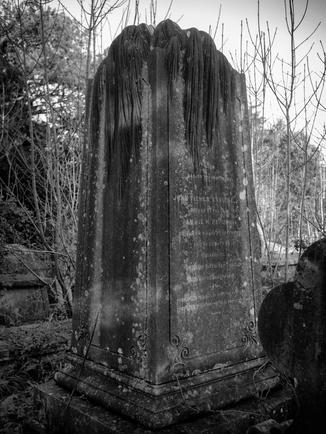 A tall, cuboid gravestone. On the top are carvings which look like they're supposed to be something like weeping willow leaves