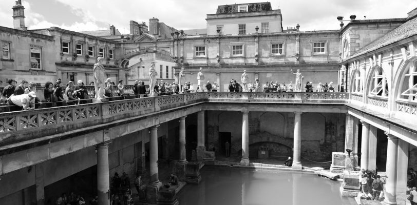Looking across the Great Bath from the walkway around the top. There are lots of visitors at both upper and lower levels