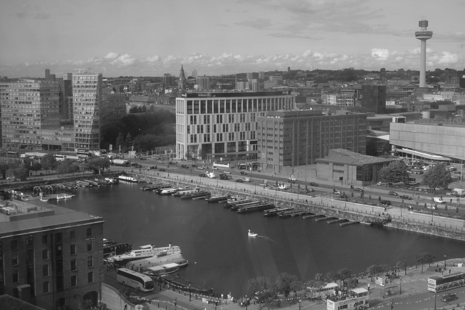 Looking across buildings from high up in the air. In the foreground is a rectangular piece of water - part of the Albert Docks - with boats moored around the edges and a swan-shaped pedalo in the centre.