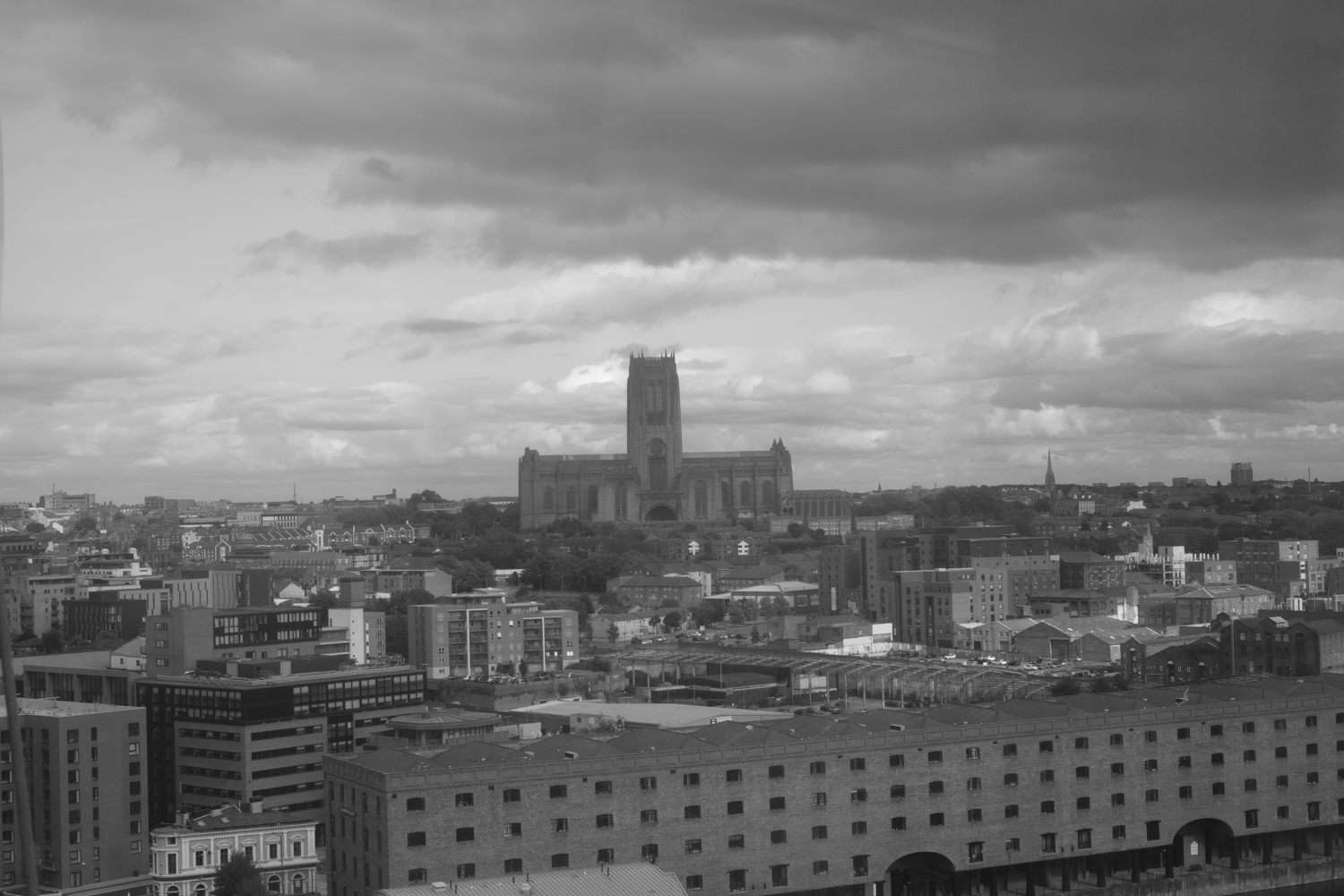 Looking towards the cathedral, which rises majestically above all the other buildings in the area.