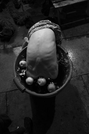a boy with his head in a bucket, bobbing for apples