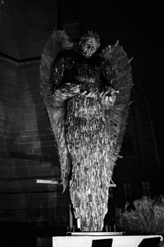 the knife angel statue at liverpool cathedral