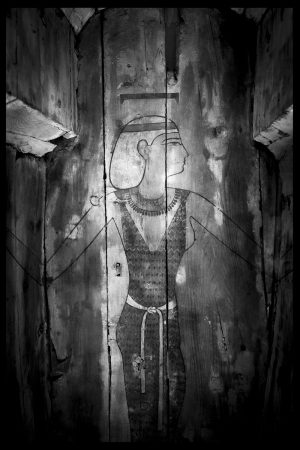 a painted image of the egyptian goddess nut in a coffin