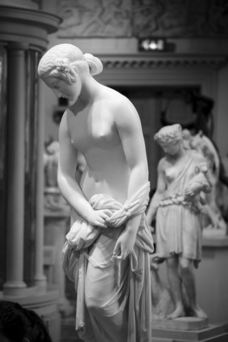 marble statues in the sculpture gallery at the walker art gallery